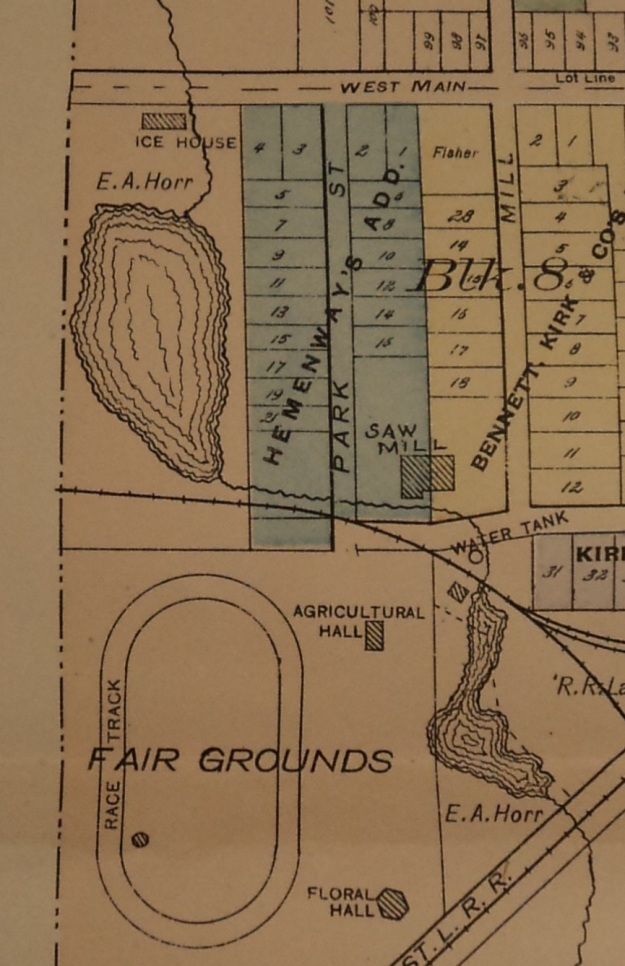 "Detail of Wellington Village map from ""Atlas and Directory of Lorain County, Ohio. Illustrated. 1896."" Pgs. 100-101. Photo by author."