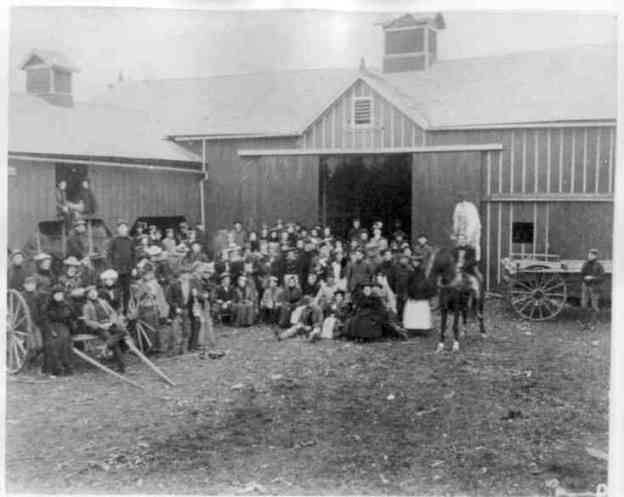 "Image taken October 21, 1871 at the Horr, Warner & Co.  barn on South Main Street. Photo 970096 of ""Wellington Family Album"" Collection, Herrick Memorial Library. Permission to display generously granted by the library."