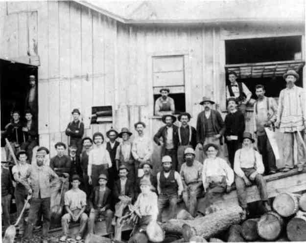 "Undated image of workers at the W. R. Santley sawmill on Magyar Street. Photo 970799 of ""Wellington Family Album"" Collection, Herrick Memorial Library. Permission to display generously granted by the library."