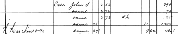 Detail of 1881 Wellington Corporation tax record for John S. Case. Note the recorded transfer of land to N. Huckins & Co.