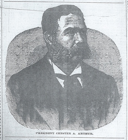 "Engraving of President Chester A. Arthur. ""The Wellington Enterprise,"" 10-5-1881, pg. 1. Photo by author."