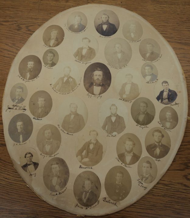 Mid-nineteenth-century photo collage. Image used courtesy of Baldwin Wallace University Archive. Photo by author.