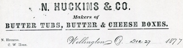 N. Huckins & Co. letterhead, detail from a letter sent by Noah Huckins to John Baldwin, Jr. 12-27-1877. Original document held by the Western Reserve Historical Society. Image used courtesy of Baldwin Wallace University Archive.