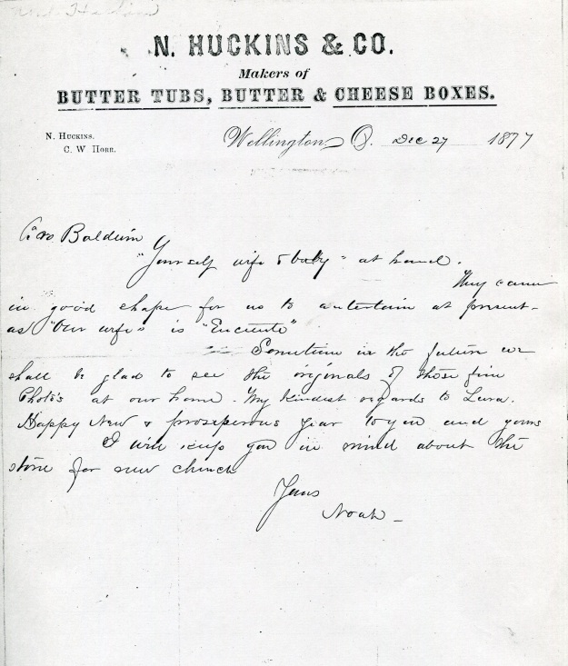 Letter sent by Noah Huckins to John Baldwin, Jr. 12-27-1877. Original document held by the Western Reserve Historical Society. Image used courtesy of Baldwin Wallace University Archive.
