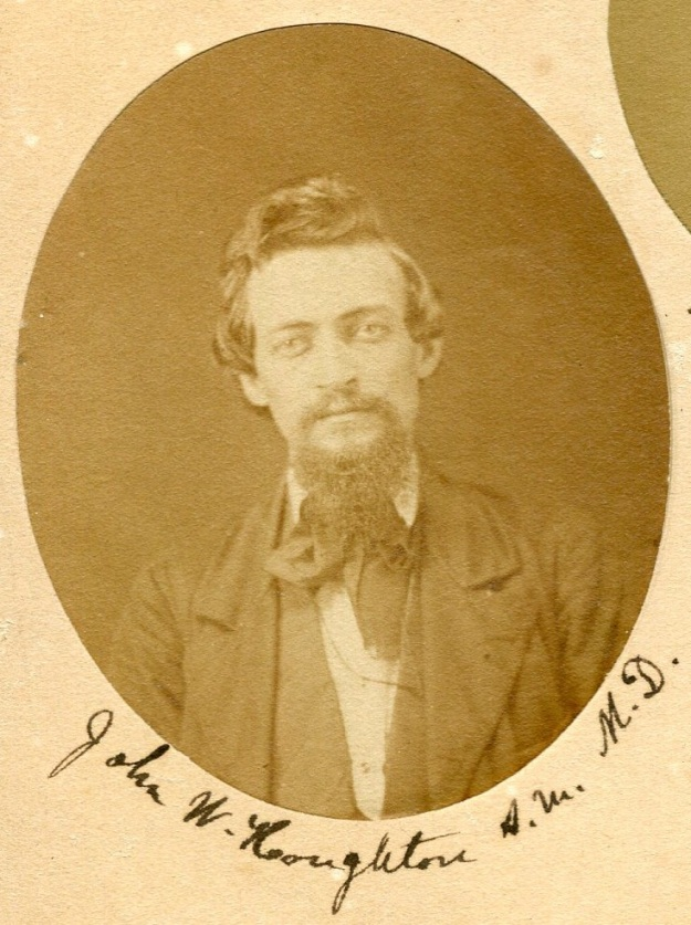 Detail from mid-nineteenth-century photo collage, showing a young John Wesley Houghton. Image used courtesy of Baldwin Wallace University Archive. Photo by author.