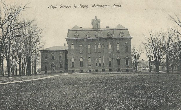 """High School Building, Wellington, Ohio."" Postcard printed in Germany for J. W. Houghton. Author's collection."