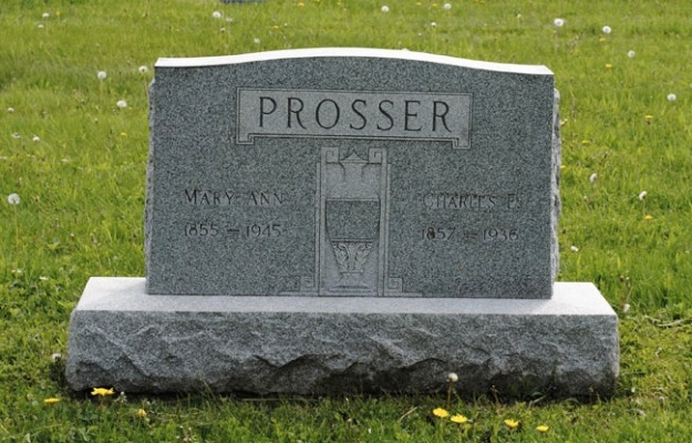 "Headstone of Charles (1857-1936) and Mary Ann (1855-1945) Prosser, LaGrange Township Cemetery, LaGrange, Ohio. Image from website ""Find a Grave.com."""