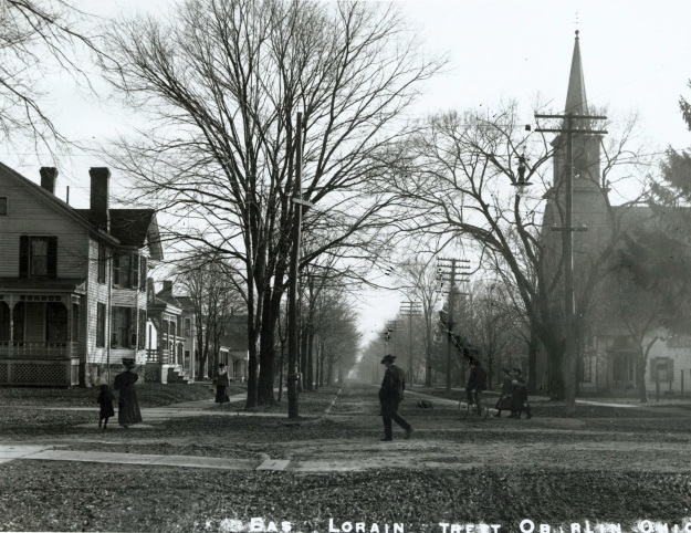 "Undated image of East Lorain Street, Oberlin, Ohio. The house at the left of the frame is likely the Jewett home rented by Noah Huckins in 1889. Image courtesy of ""Oberlin in the Past"" Facebook page."