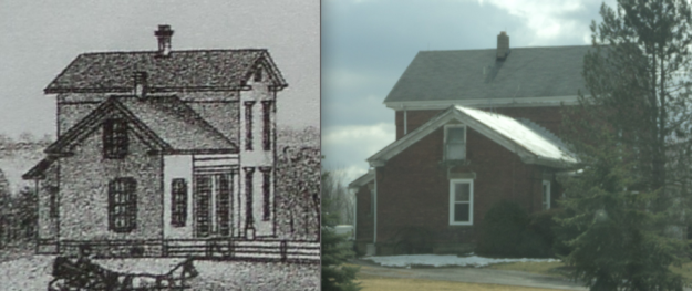 "(L) Detail of the Bacon farm, from ""History of Lorain County, Ohio"" (1879), opposite pg. 349. (R) Photo by author of private residence on Pitts Road, 2013."