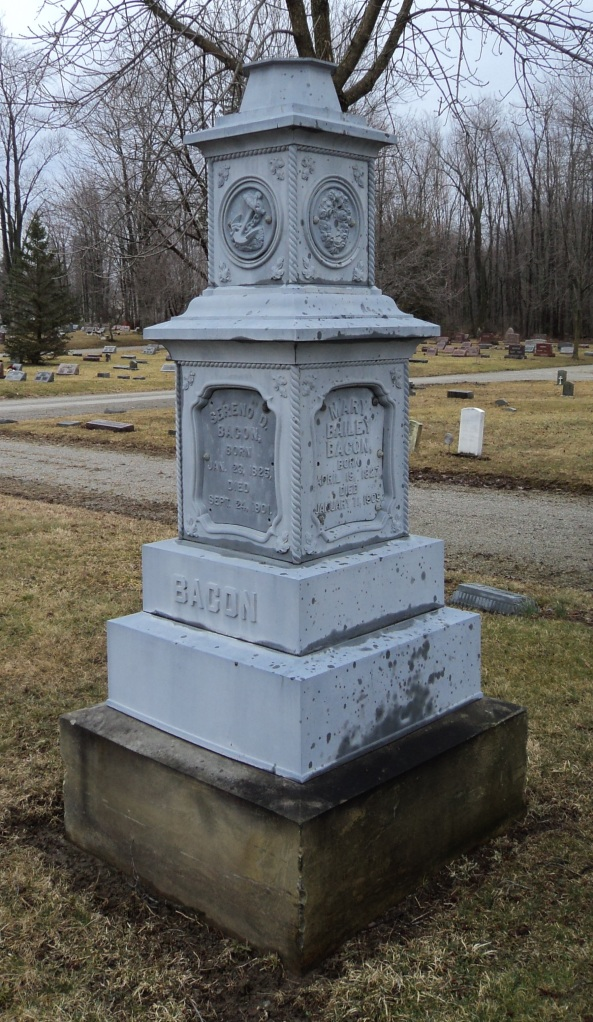 Headstone of Sereno and Mary Bacon, Greenwood Cemetery, Wellington, Ohio. Photo by author.