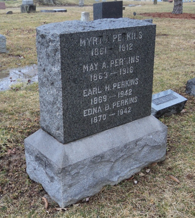 Headstone of the Perkins family at Greenwood Cemetery, Wellington, Ohio. Edna Perkins' name is listed on one side of the monument with three siblings; her parents are listed on the other. Photo by author.