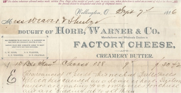 Receipt for cheese purchased from Horr, Warner & Co., dated September 7, 1886. Author's collection.