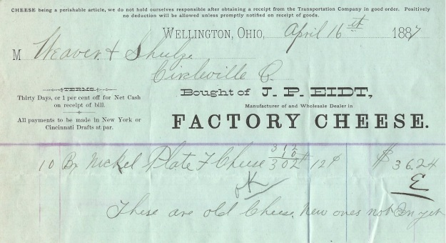 Receipt for cheese purchased from J. P. Eidt, dated April 16, 1887. Author's collection.