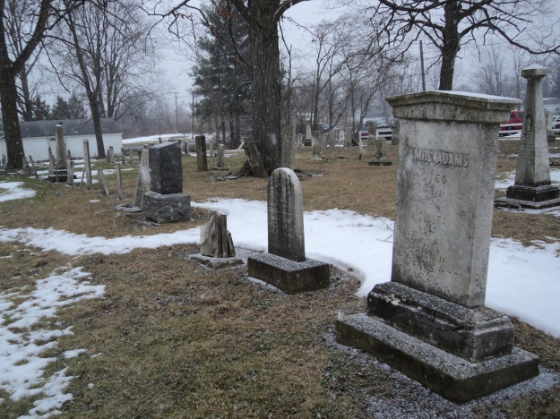 Three Howk siblings and their spouses; sister Fiche Howk Bradley (d. 1869) is laid to rest in the southwest corner of the burial ground. Pioneer Cemetery, West Herrick Avenue, Wellington, Ohio. Photo by author.