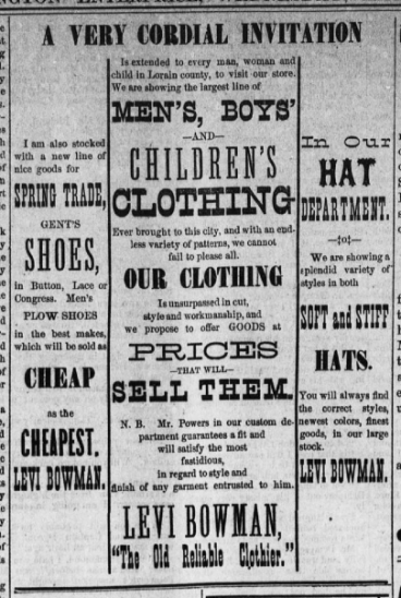 """Advertisement for Levi Bowman's clothing shop, still in operation nearly twenty years after Lepha Sherman Houghton's death. """"The Wellington Enterprise,"""" 5-21-1884, pg. 4."""