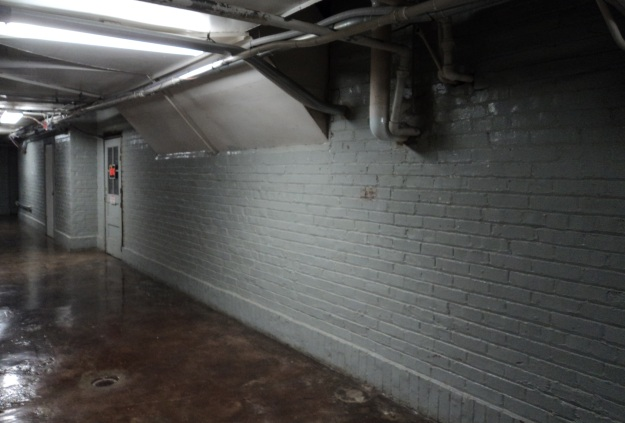 Former exterior wall of the Union School, now enclosed in the basement of a later addition. Photo by author.